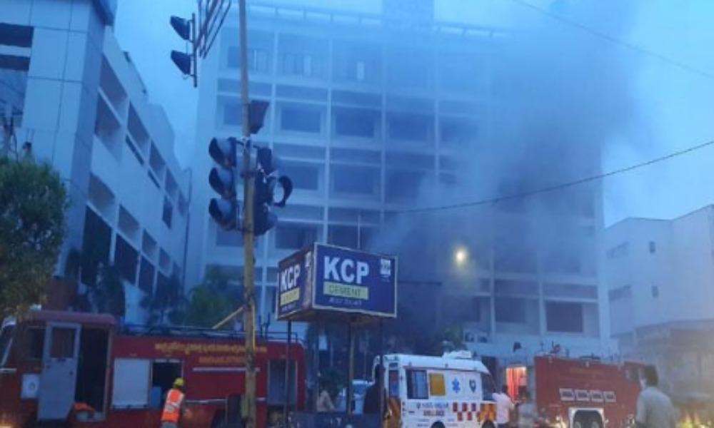 fire accident in vijayawada covid centre